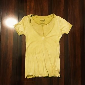 Washed-Out Yellow Green Free People V-Neck